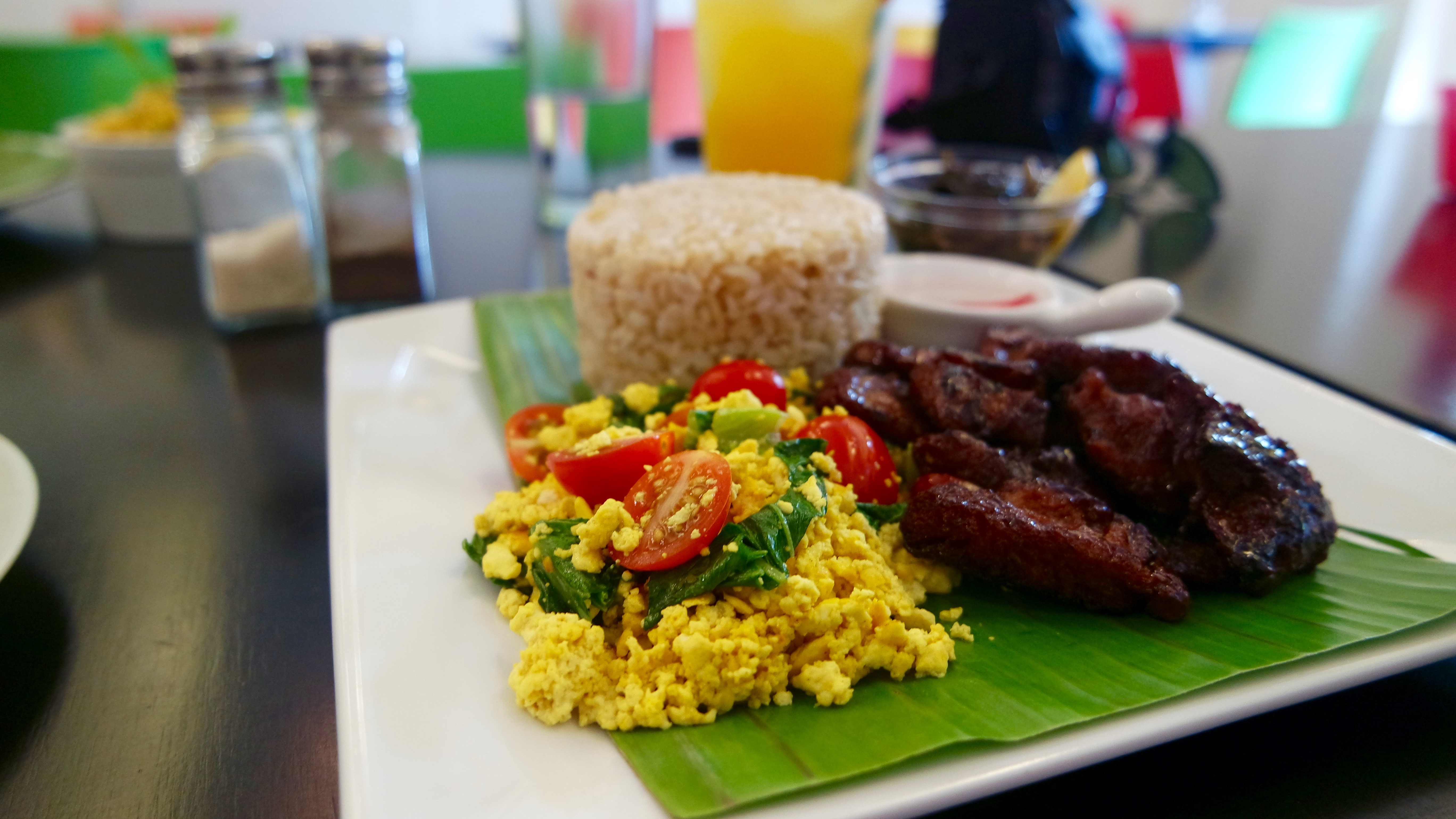 Vegeterian version of the typical Filipino breakfast, Tapsilog